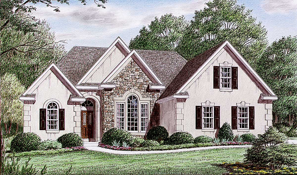Discreetly beautiful european house plan 9409ch for Conventional house style