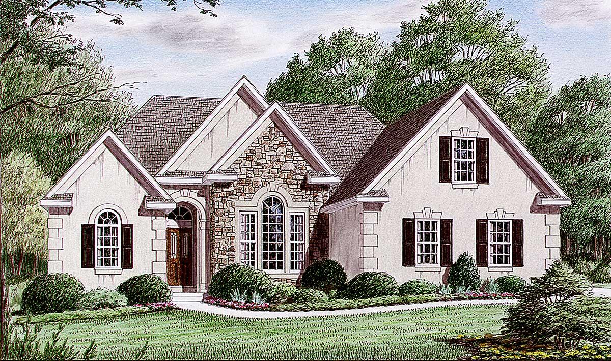 Discreetly beautiful european house plan 9409ch for European bungalow house plans