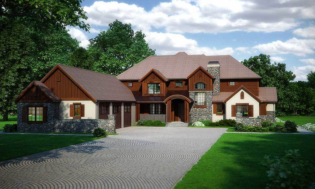Stone stucco and wood beauty 95001rw architectural for Stone and stucco house plans