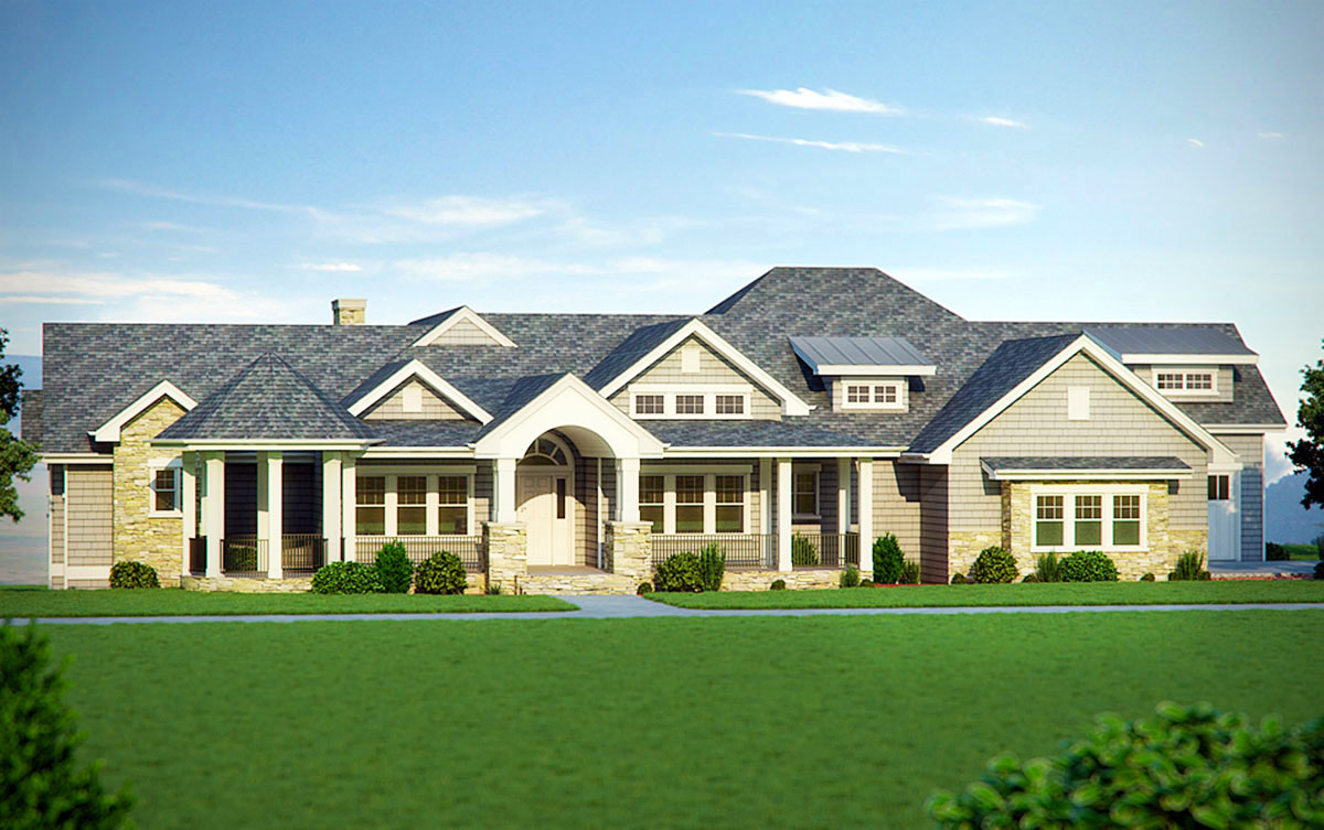 Five bedroom craftsman home plan 95007rw 1st floor for 5 bedroom luxury house plans