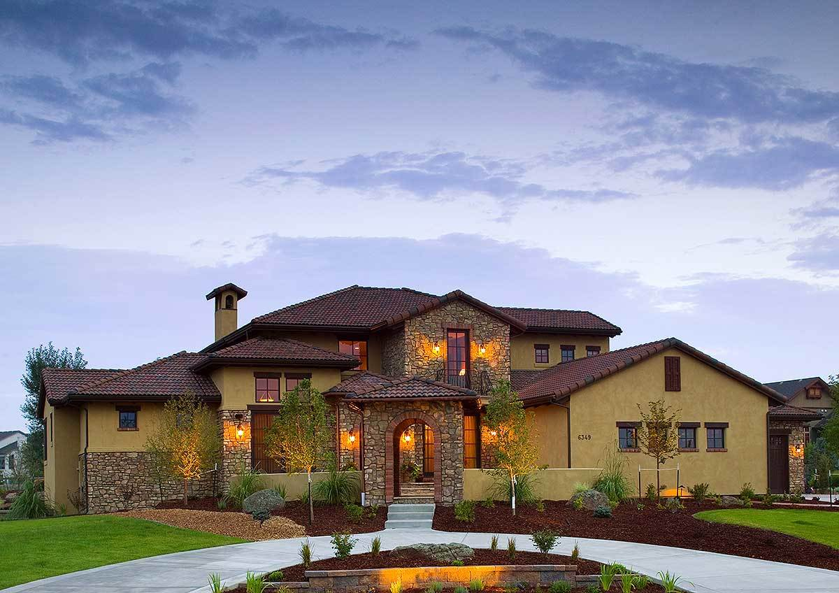 Tuscan house plans architectural designs Old world house plans courtyard