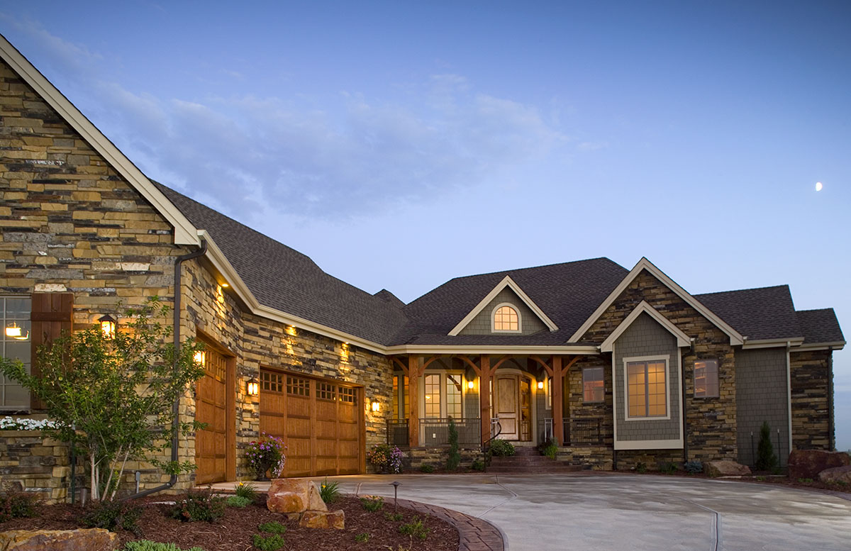 Craftsman home with angled garage 9519rw architectural for Craftsman house plans 3 car garage