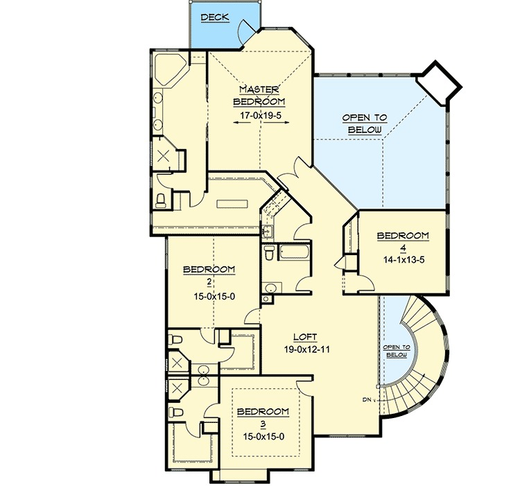 Wrap around rear decks 9520rw 2nd floor master suite for Rear master bedroom house plans