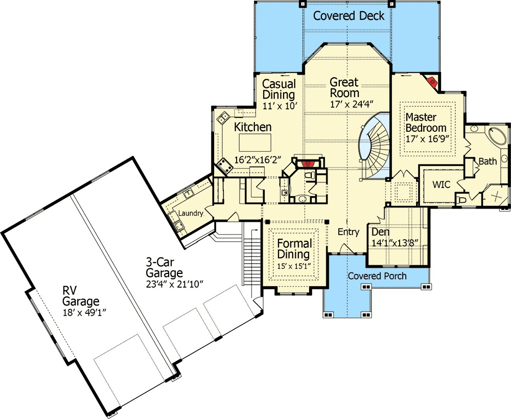 Dream home plan with rv garage 9535rw 1st floor master for Garage layout planner online