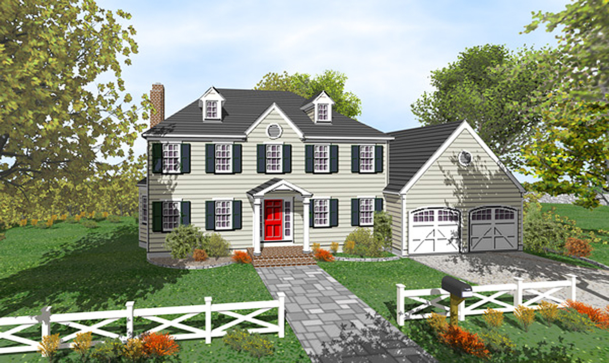 Two story colonial with open floor plan 9551dm for 2 story colonial house plans