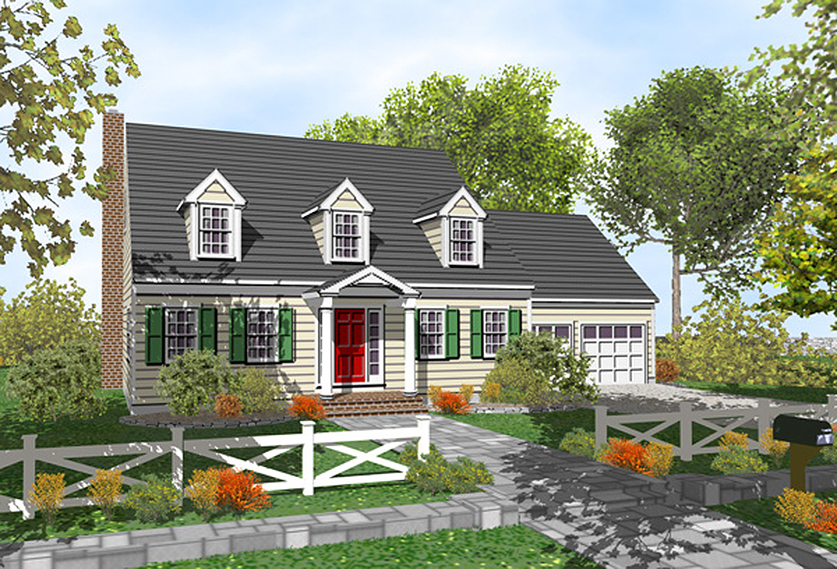 Customizable cape cod classic 9554dm architectural for Cape cod cottage plans