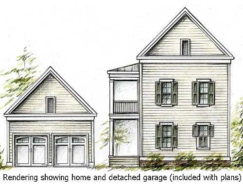 Double Decker Porch And A Detached Garage - 9729AL