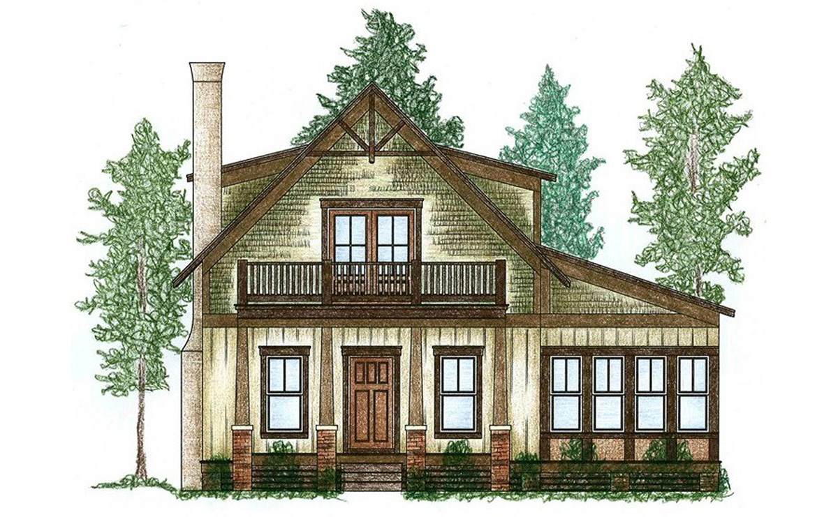 Cute cottage with bunk room 9746al architectural for Cute house plans