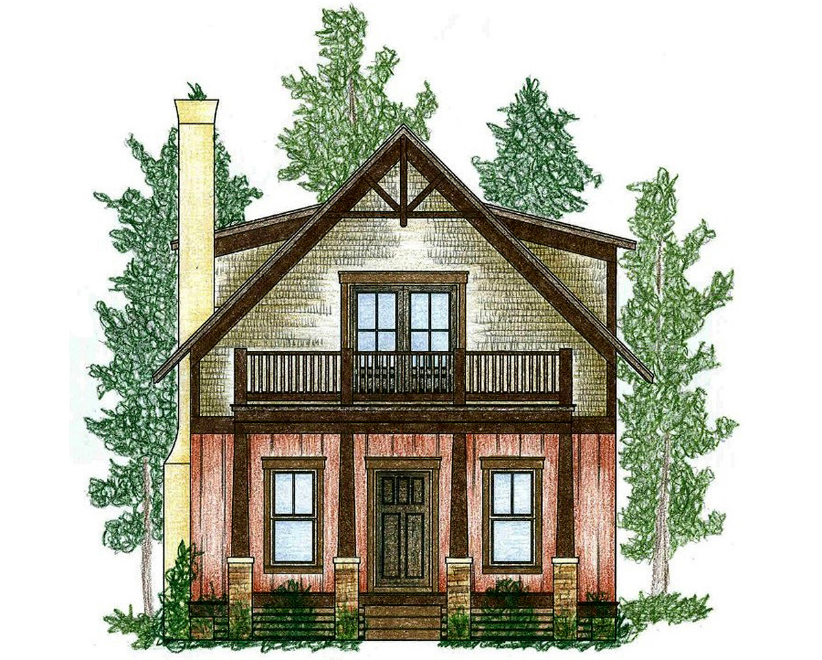 Cozy cottage with beds upstairs 9747al architectural for Cosy house plans