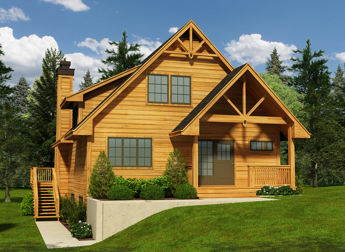 Narrow lot cottage house plan 9818sw 2nd floor master for House plans 3 car garage narrow lot