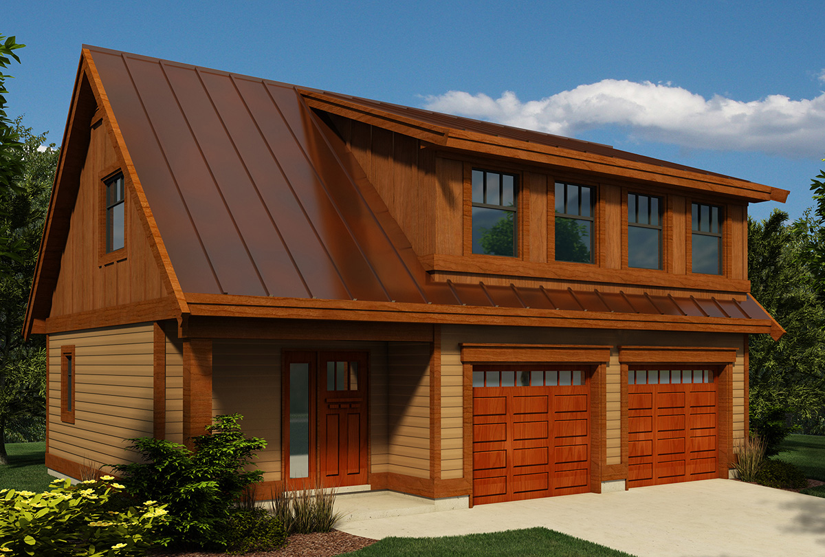 Carriage house plan with shed dormer 9824sw canadian for Cost to build 2 car garage with loft
