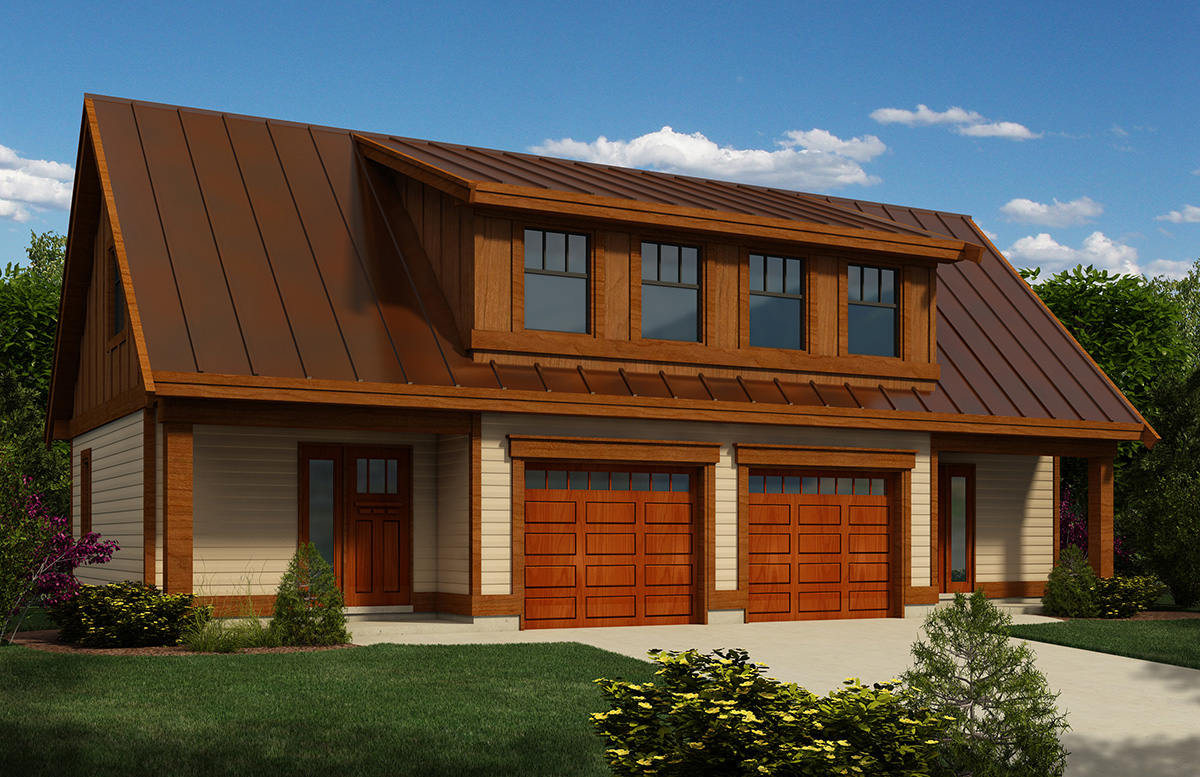 Carriage house plan with workshop 9825sw canadian for Garage shop plans