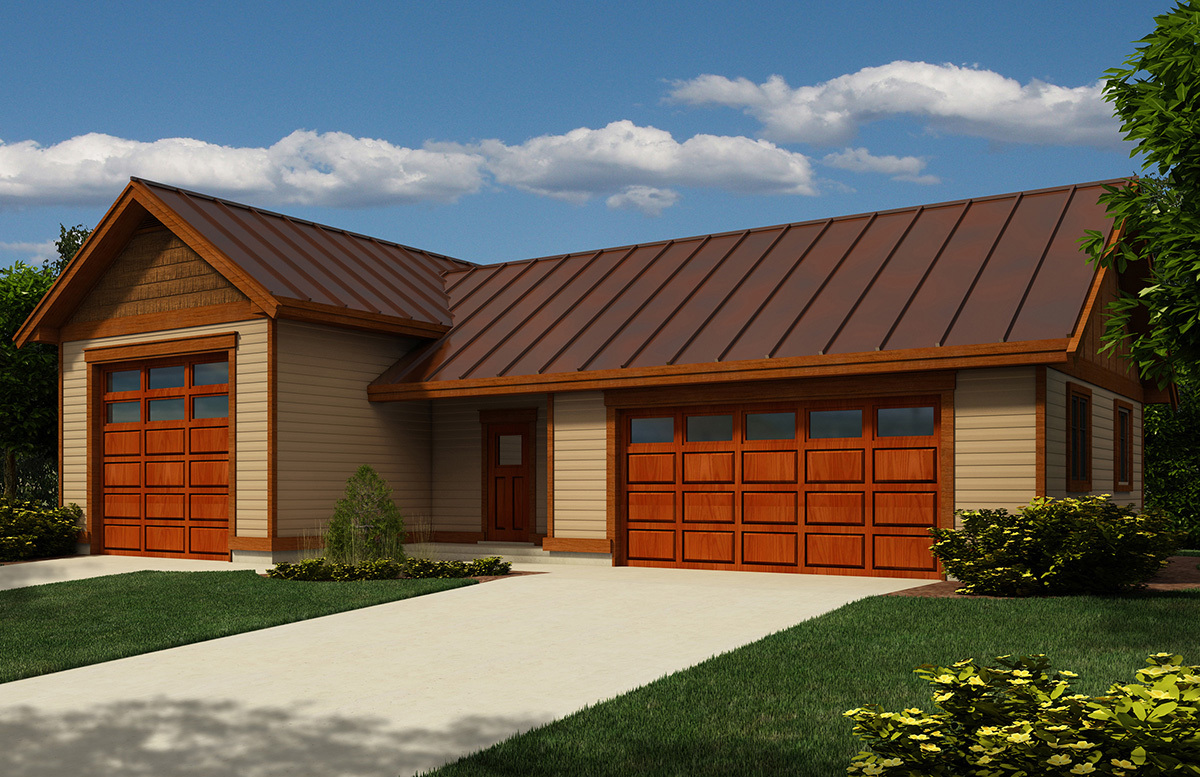 Rv garage with metal roof 9826sw architectural designs for Steel garage plans