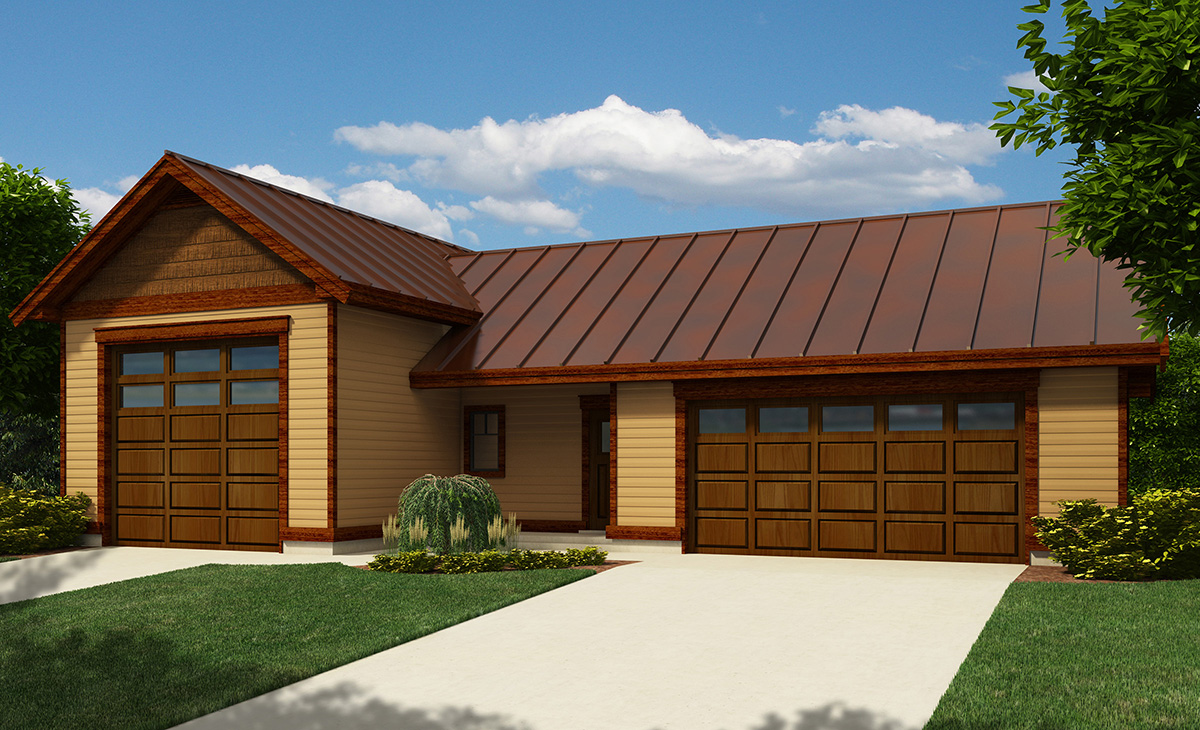 Rv garage with workshop 9829sw architectural designs for Rv garage plans with workshop
