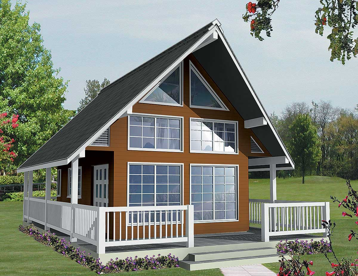 Vacation escape with loft and sundeck 9836sw for Free vacation home plans