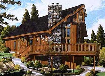 Rustic chalet 99919mw architectural designs house plans for Chalet style homes with attached garage
