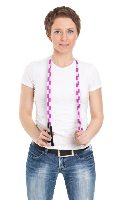 Woman with Blue and White 7 foot jump rope plastic segmentation 416x684 - Black and White 7-foot jump rope with plastic segmentation