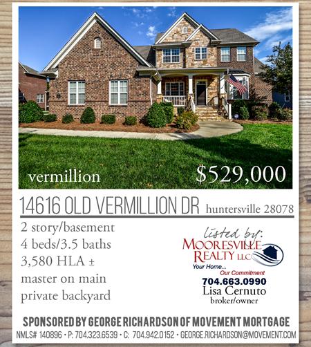 14616 Old Vermiillion Dr, Huntersville, NC 28078 Listed at $529,000 Vermillion Subdivision