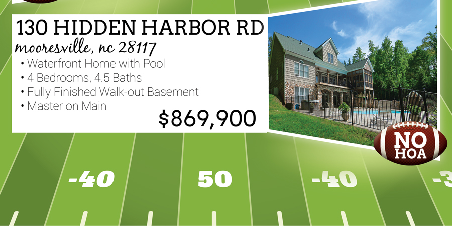 130 Hidden Harbor Rd, Mooresville, NC 28117 Waterfront Home with Pool 4 Bedrooms, 4.5 Baths Fully Finished Walk-OUt Basement Master on Main Listed for $869,900 No HOA