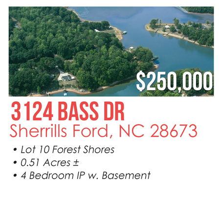 3124 Bass Dr, Sherrills Ford, NC 28673 Waterfront Lot for Sale - Lake Norman Listed for $250,000 MLS #3060290