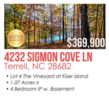 4232 Sigmon Cove Ln, Terrell, NC 28682 Waterfront Lot for Sale on Lake Norman Gated Community The Vineyards at Kiser Island Listed for $369,900 MLS# 2192652