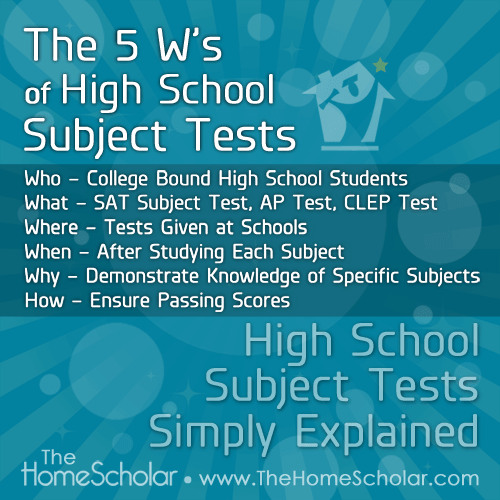 High School Subject Tests Simply Explained | Newsletter