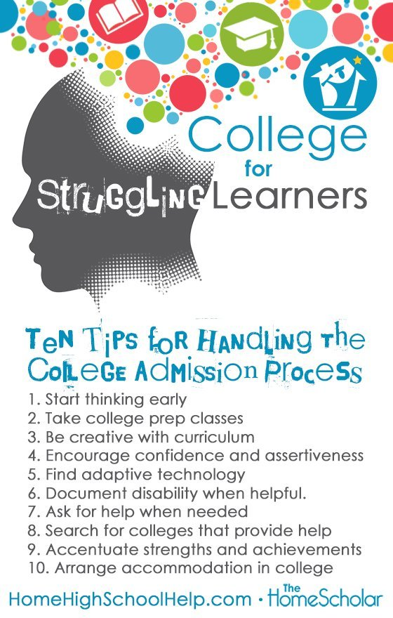 College for Struggling Learners #Homeschool @TheHomeScholar