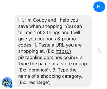 say hi to coupon bot