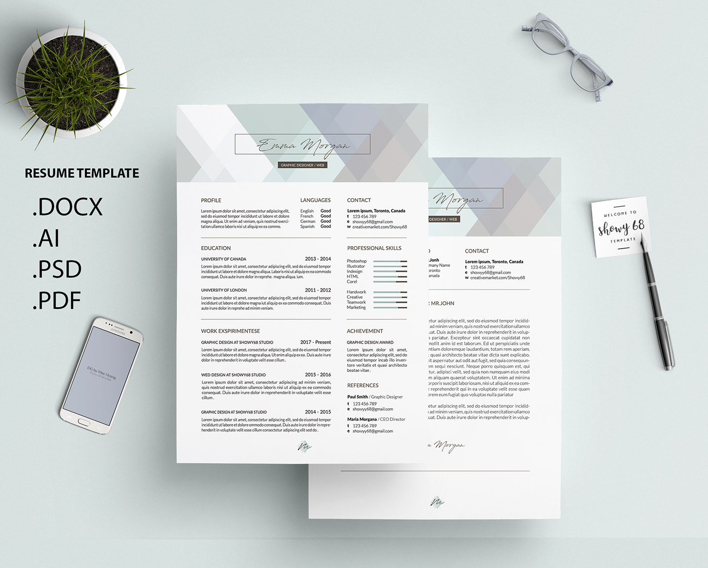 Leo Behance Crystal Pastel Resume Template