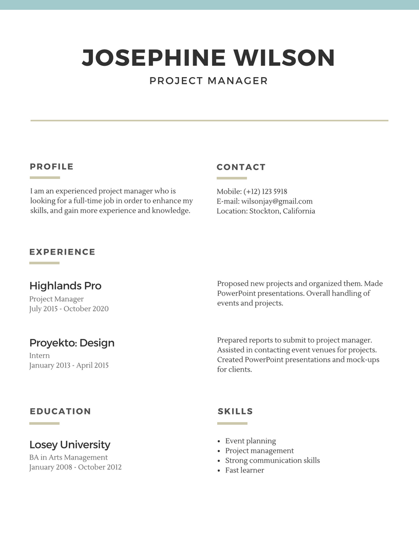 Basic Resume Template 2020 List Of 10 Basic Resume Templates