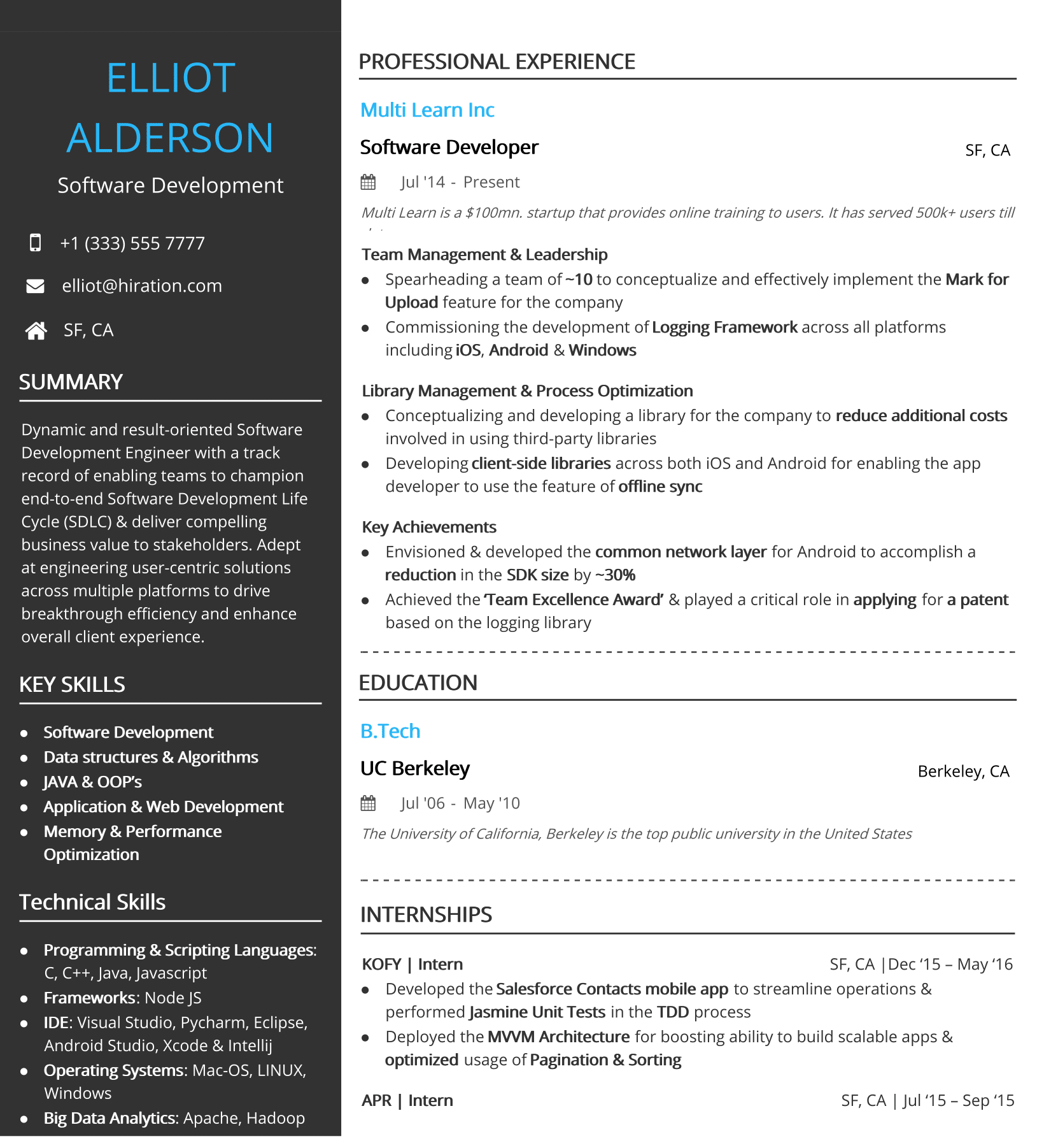 One Page Resume 2020 Guide To One Page Resume Templates Examples