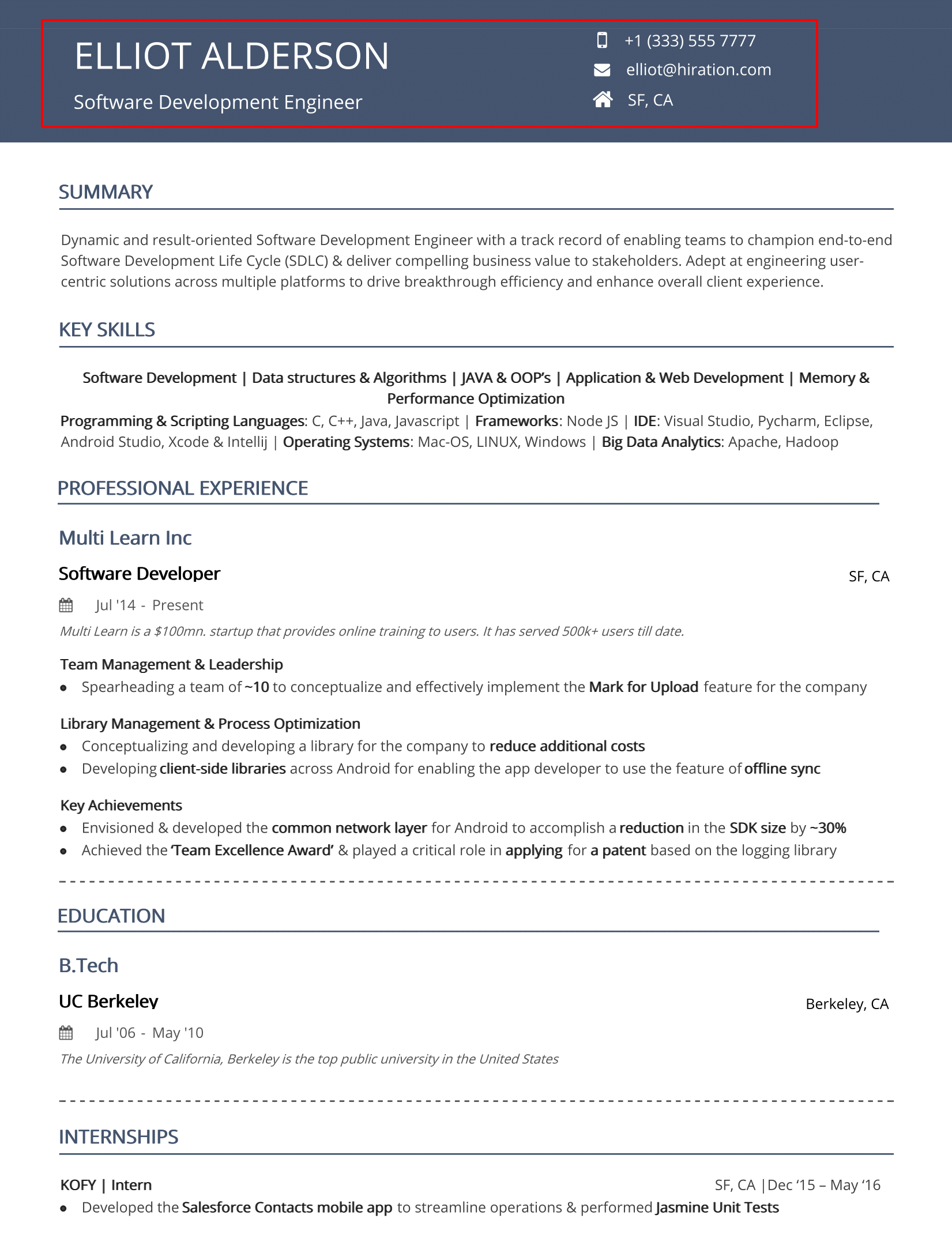 Resume Header 2020 Guide To Contact Information In Resume Examples