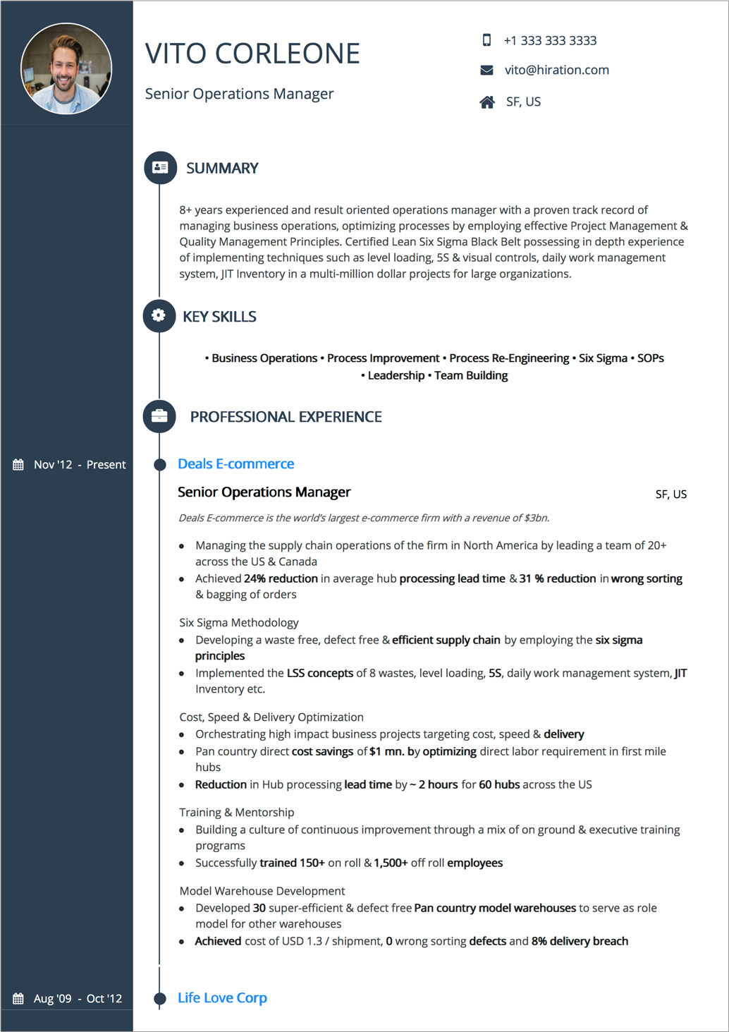 Resume Summary Examples Business Operations