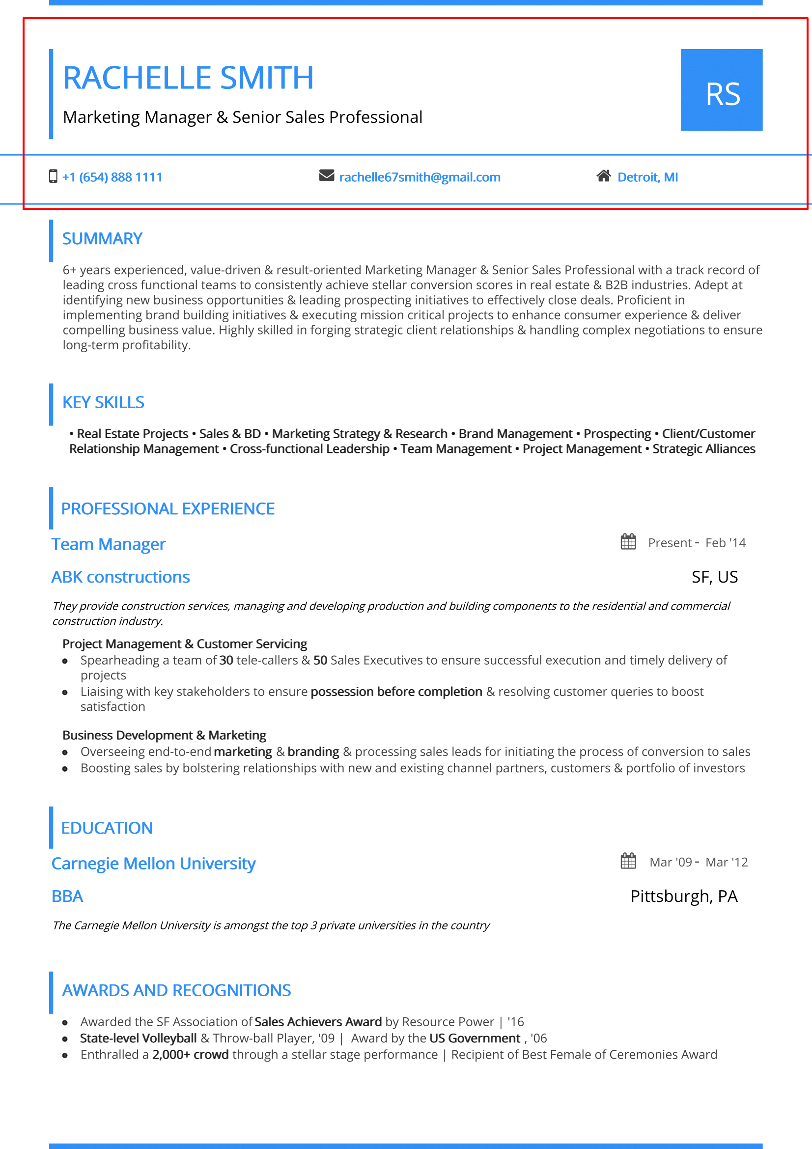 2 page resume header example