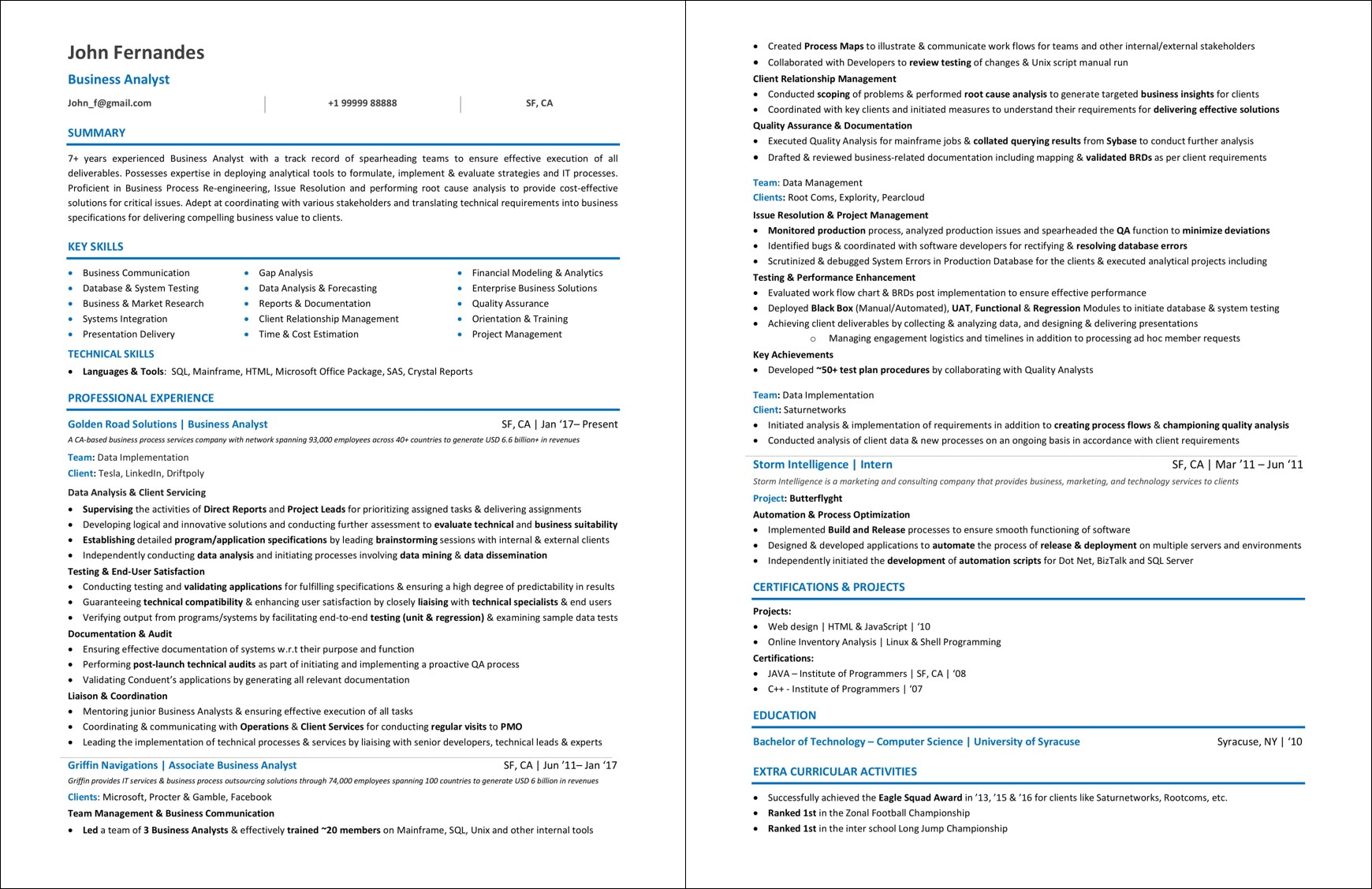 Business Analyst Resume Examples 2019 Guide Best Samples