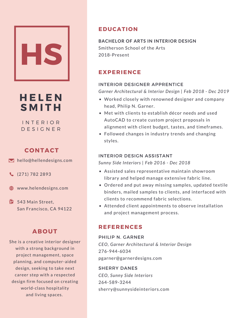 Simple-Pink-College-Resume