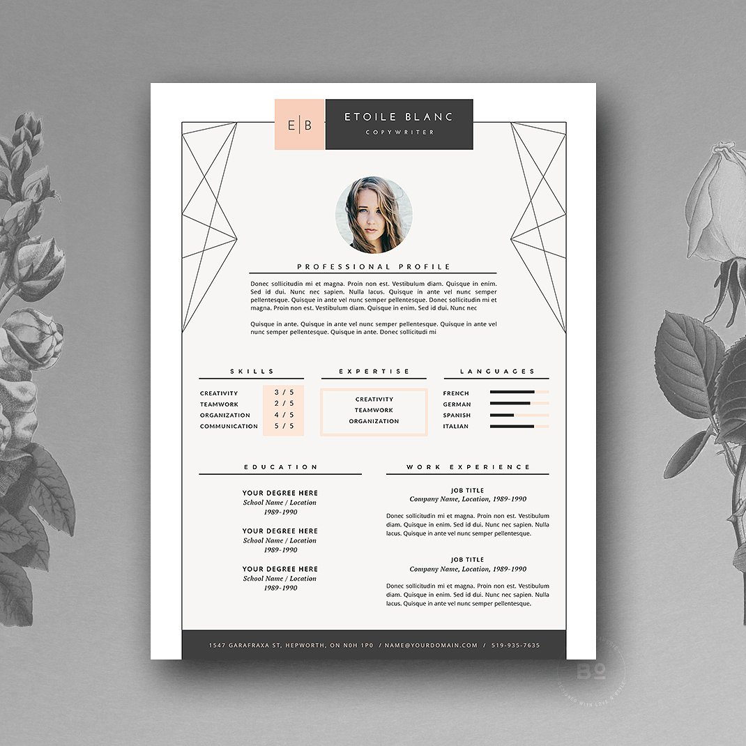 Black Pink White Creative Resume Template