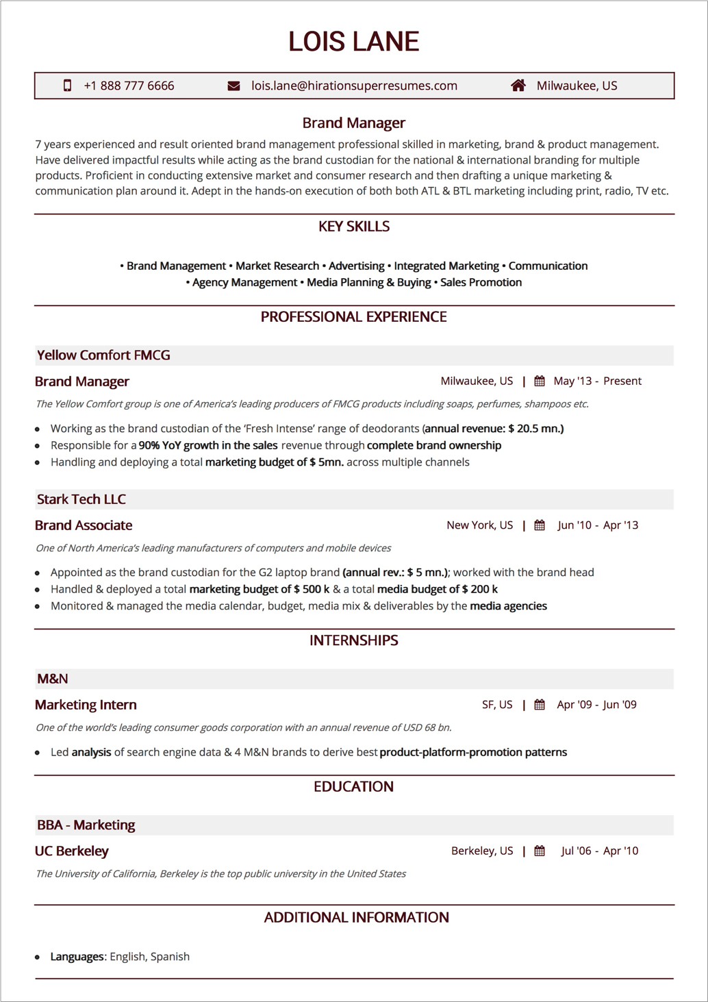 one-column-resume-layout