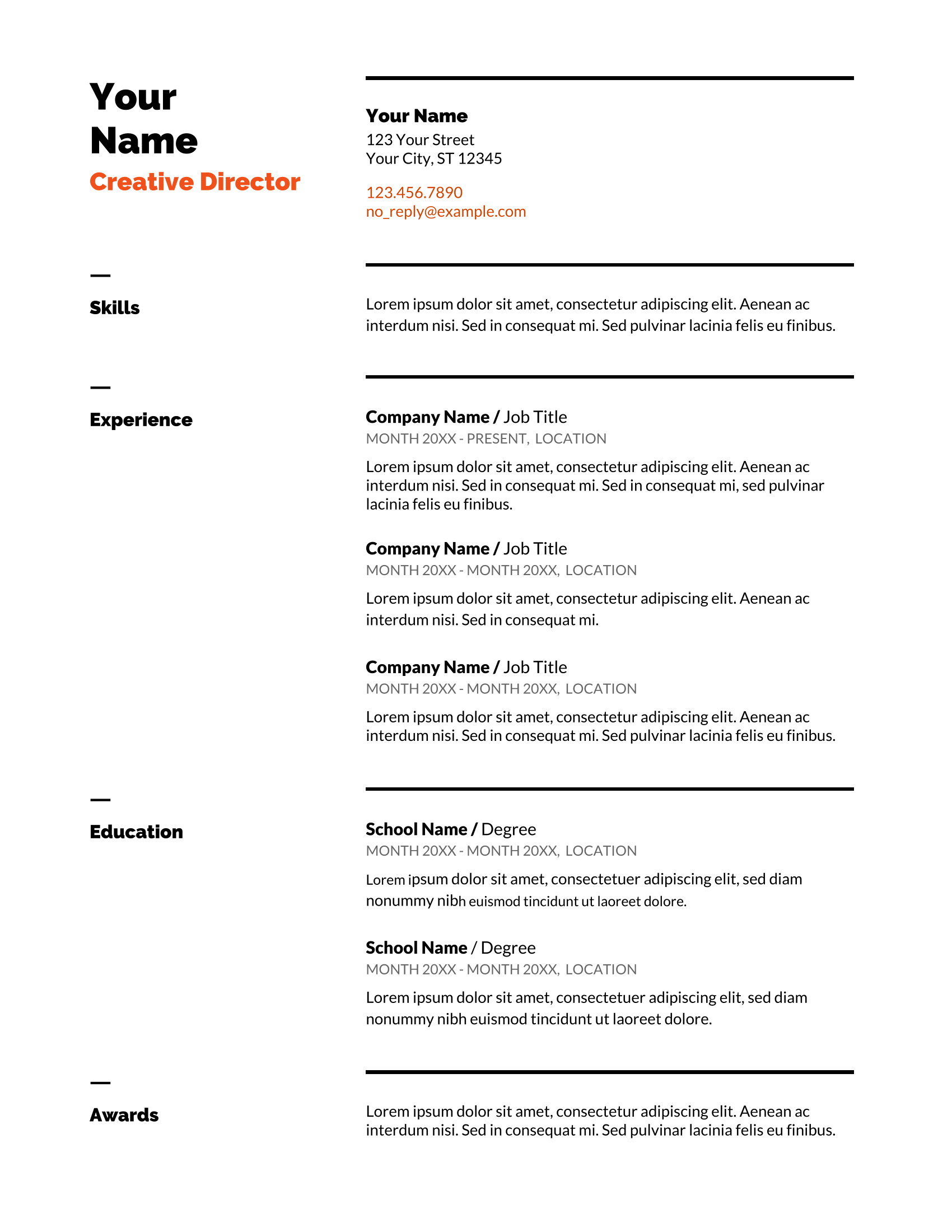 2020 list of top 5 google docs resume templates