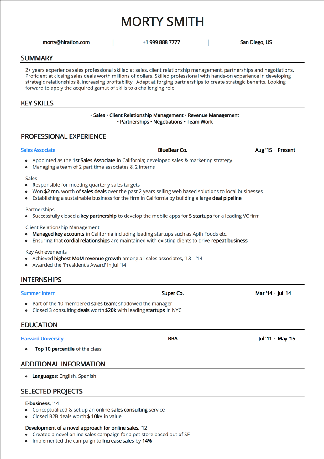resume lay out