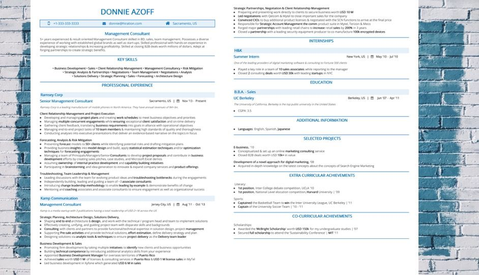 How To Make A Management Consultant Resume