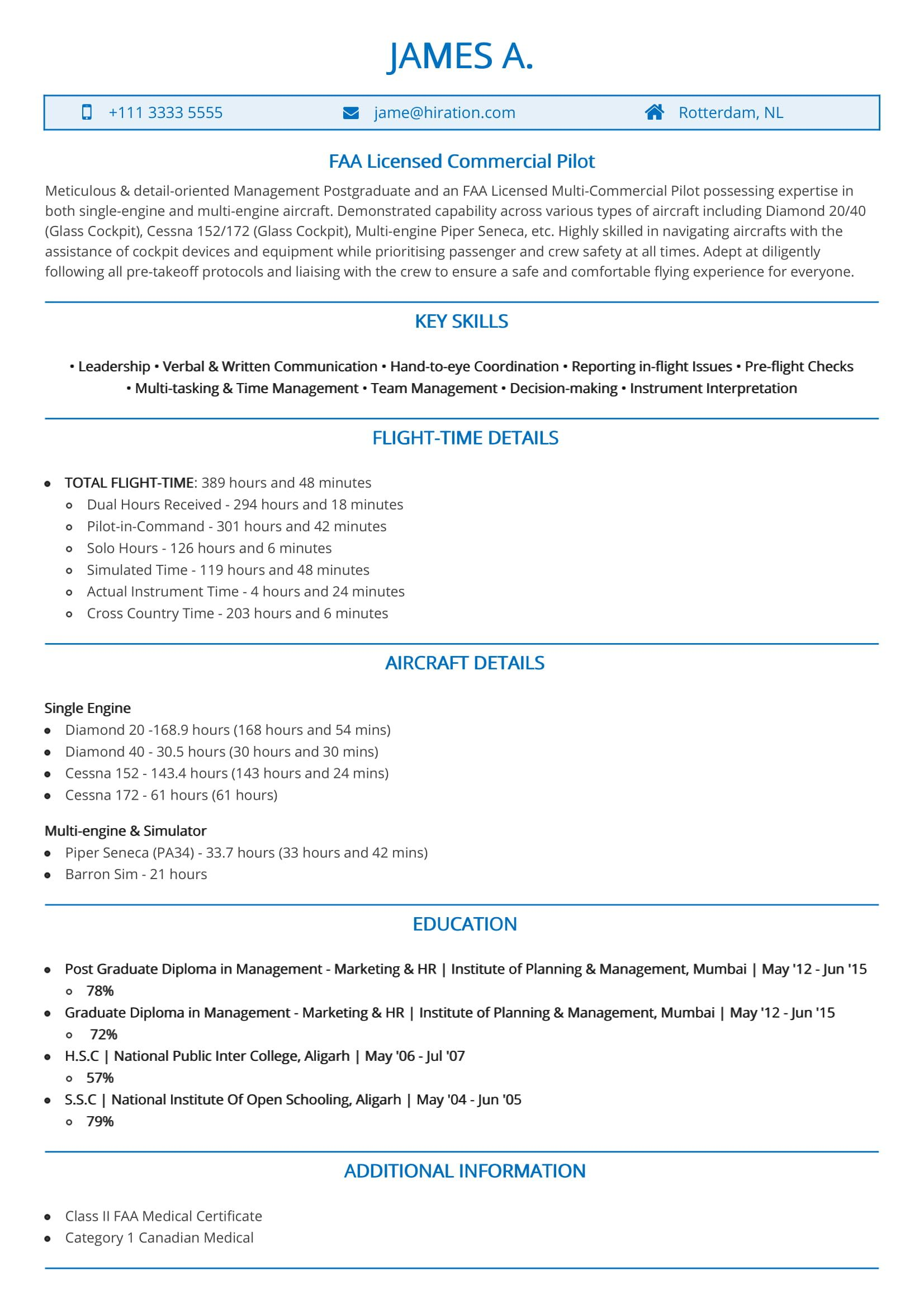 resume with 1 job experience