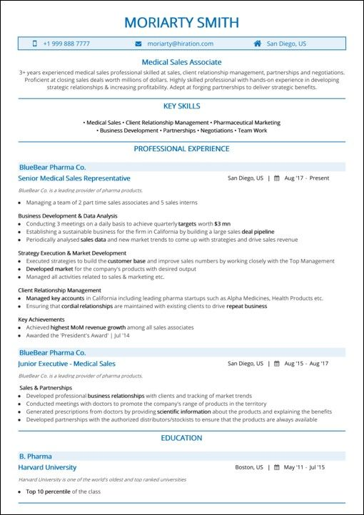 Hiration Medical Sales Sample Resume
