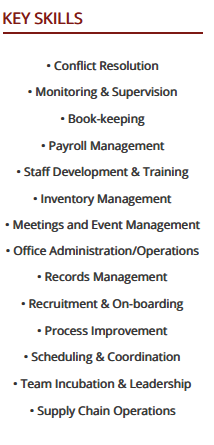 The Key Skills Section In A Sample Resume For Office Manager