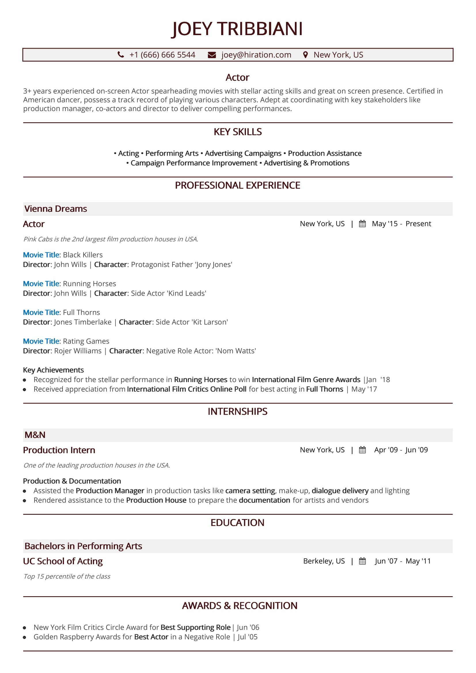 Acting Resume in 2019: A 10-Step Guide to Actor Resume [With Samples]