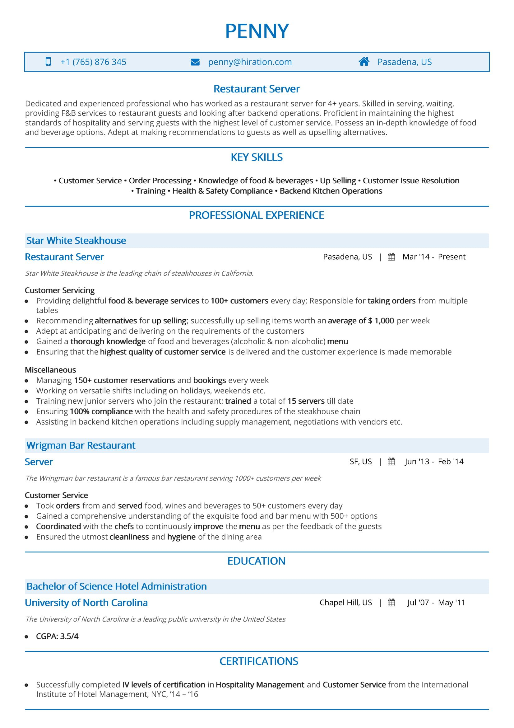 Server Resume Examples And 2019 Guide 50 Samples