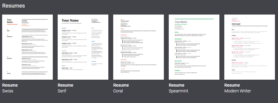 google-doc-resume-templates