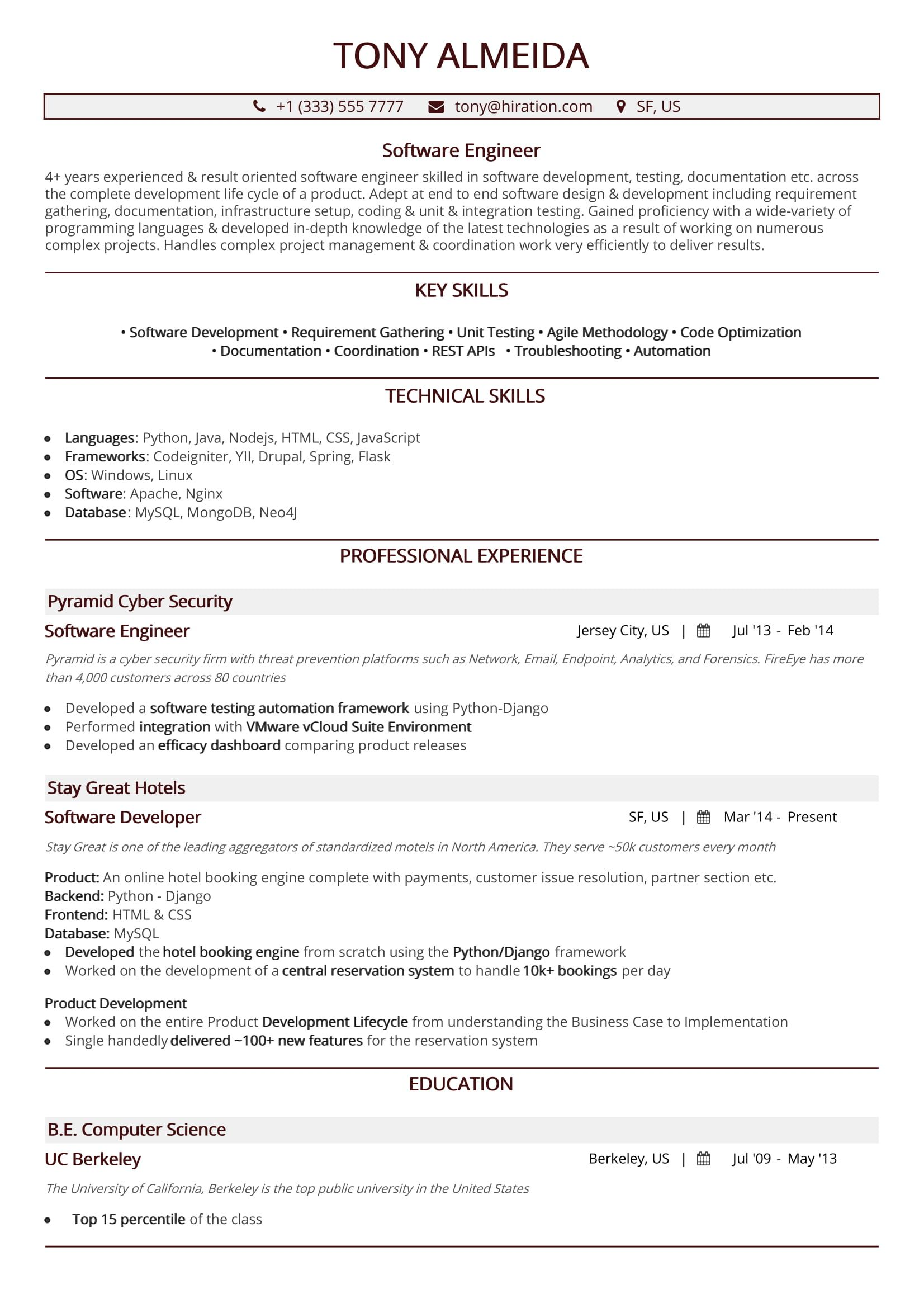 software engineer resume  a 10