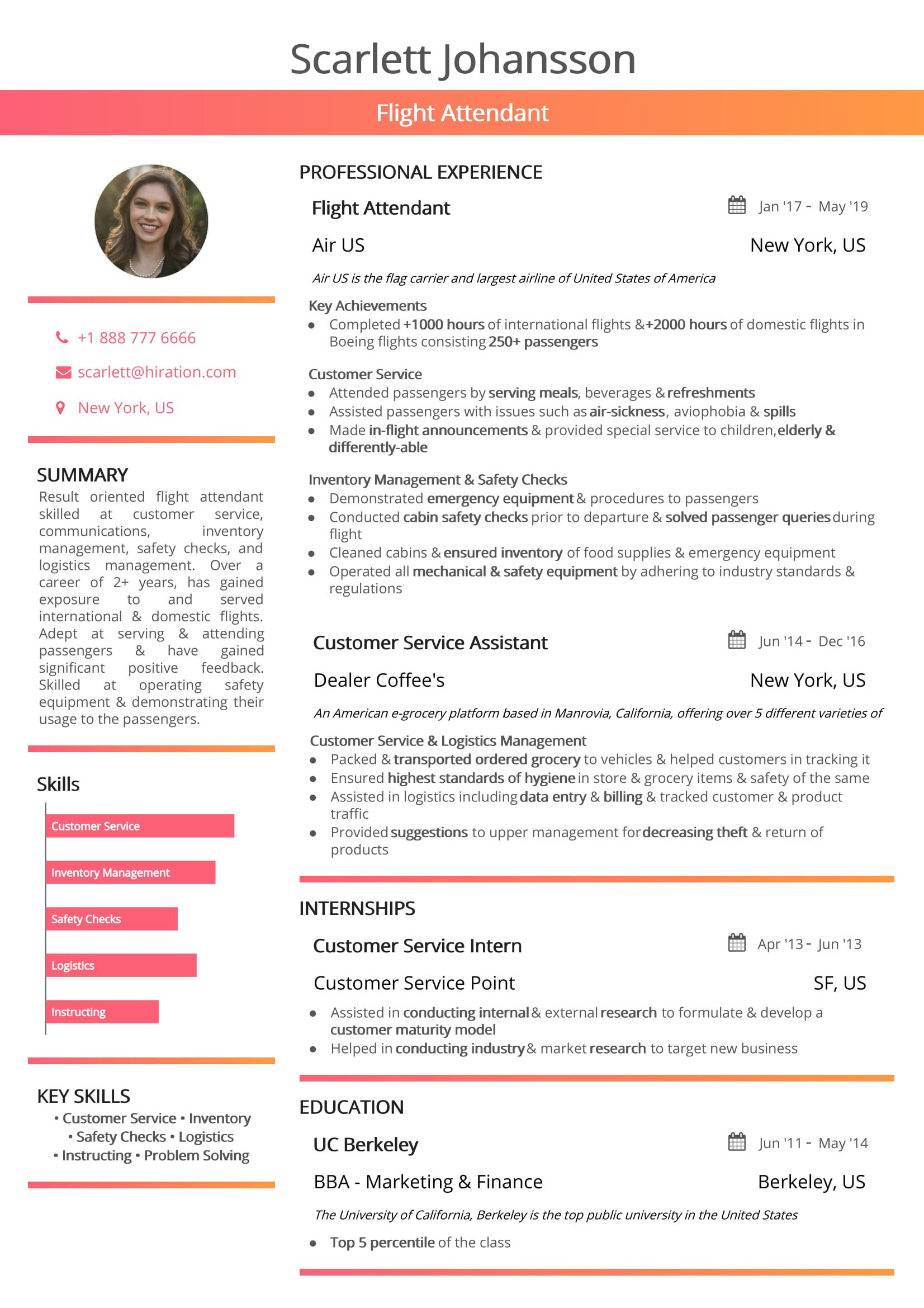 flight attendant resume  2019 guide with hostess resume