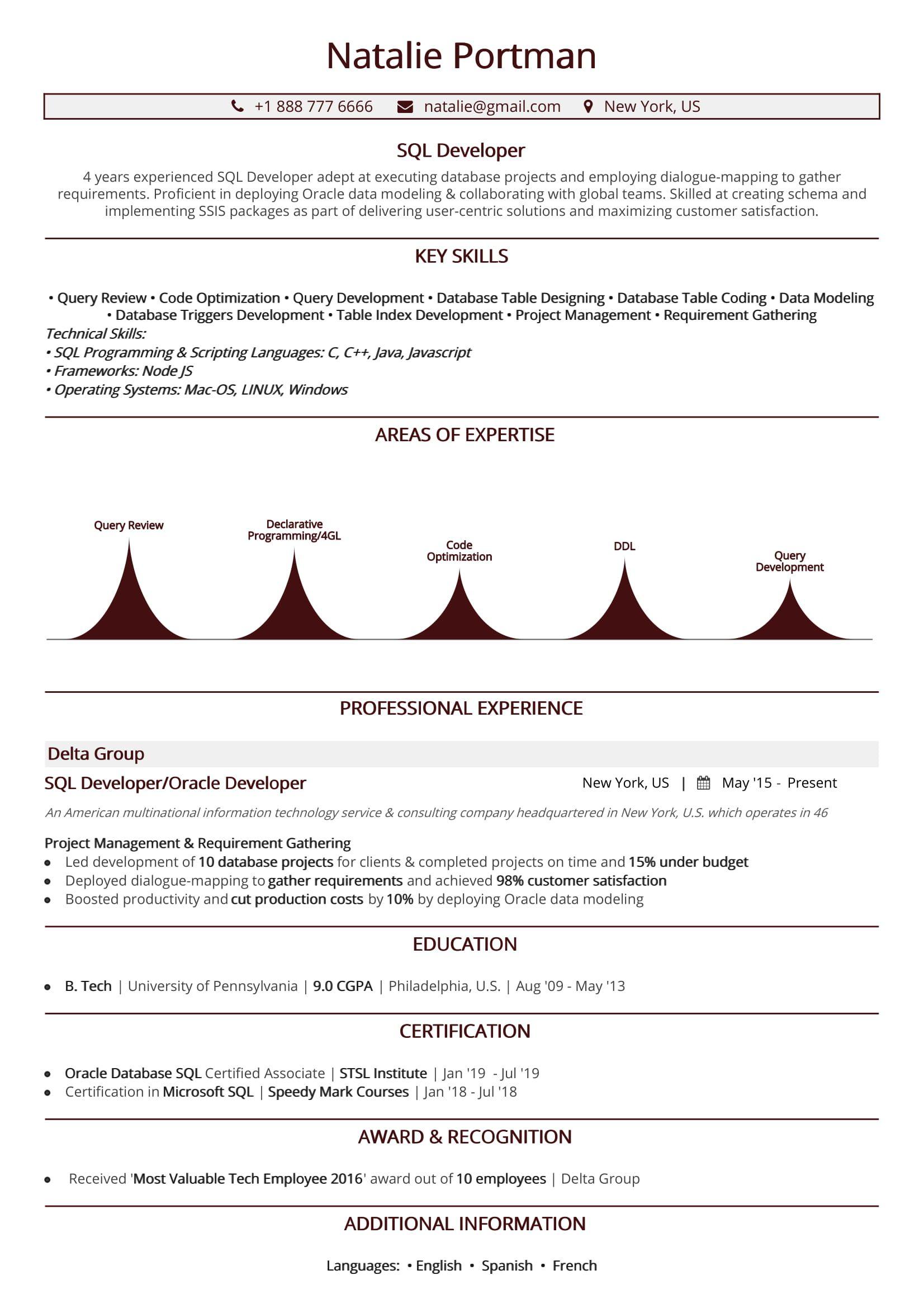 sql developer resume  2020 guide to sql resume  sample